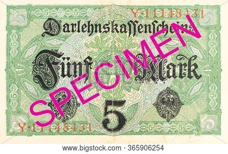 A Single 5 German Mark Bank Note (1917) Reverse