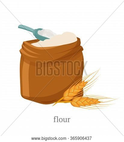 Wholemeal Flour Flat Vector Illustration. Open Sack With White Powder, Wooden Scoop And Wheat Spikel