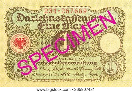 A Single 1 German Mark Bank Note (1920) Obverse