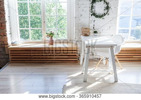 Stylish Loft Modern Home Office Interior. Spacious Design Apartment With Light Walls Large Windows A
