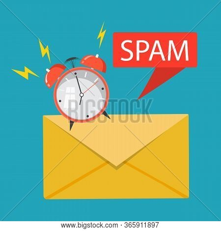 Spam Data Concept. Vector Illustration. Attention Spam Message.