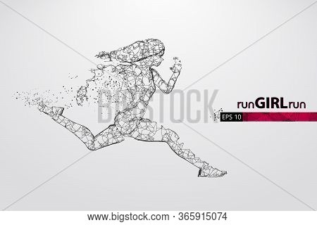 Abstract Silhouette Of A Wireframe Running Athlete, Woman On The White Background. Athlete Runs Spri