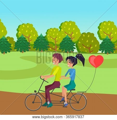 Happy Young In Love Girl And Guy Riding On Double Bike On The Road At Forest Background. Romantic Ri