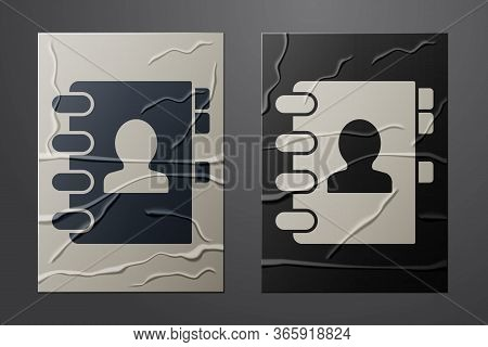 White Address Book Icon Isolated On Crumpled Paper Background. Notebook, Address, Contact, Directory