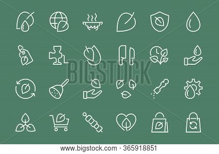 Ecology Icon Set, Vector Lines, Contains Icons Such As Photosynthesis, Enviroment Protection, Eco-fr