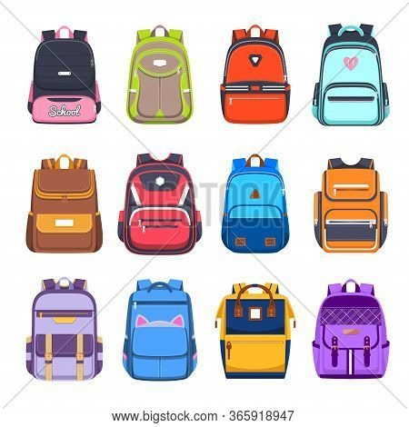 School Bags And Backpacks, Handbags And Rucksacks Vector Flat Icons. College And School Boy And Girl