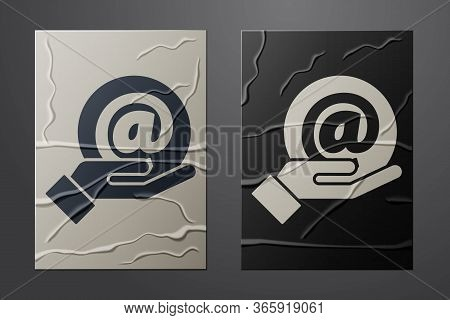 White Mail And E-mail In Hand Icon Isolated On Crumpled Paper Background. Envelope Symbol E-mail. Em