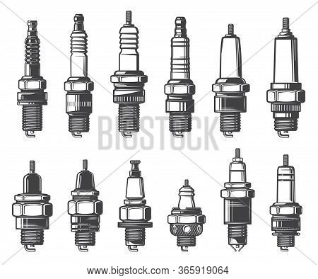Car Spark Plugs, Isolated Vector Icons Set. Monochrome Car Ignition System And Spark-ignition Engine