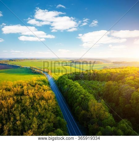 Scenic aerial photography of rural road passing through agricultural land and green fields. Top view drone shot. Agricultural area of Ukraine, Europe. Concept of agrarian industry. Beauty of earth.