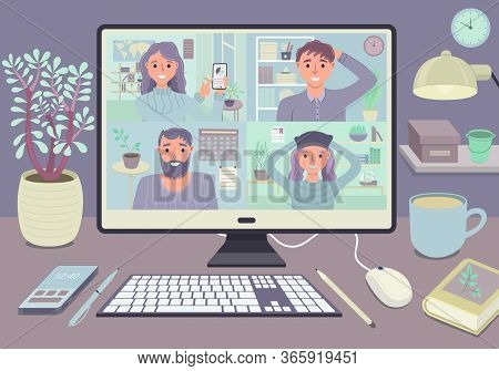 Stay And Work From Home Video Conference Meeting Concept. Workplace With Computer Screen Group Of Pe