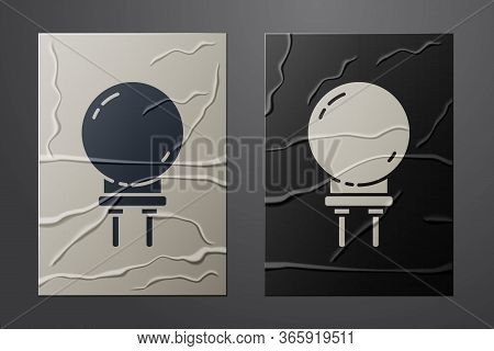 White Light Emitting Diode Icon Isolated On Crumpled Paper Background. Semiconductor Diode Electrica