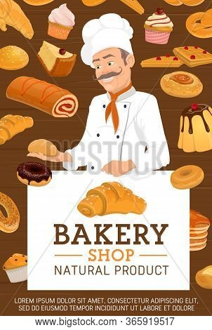 Baker In Bakery Shop. Chef In White Toque Hold A Bun. Vector Pastry Cakes, Patisserie Desserts And S
