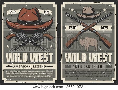 Wild West Vintage Vector Posters. American Western Legend, Texas Buffalo Ox And Cowboy Sheriff Hat W