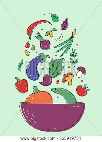 Fresh Organic Vegetables Flying Into A Salad Bowl. Vector Eggplant, Tomato, Carrot, Chanterelle, Bee