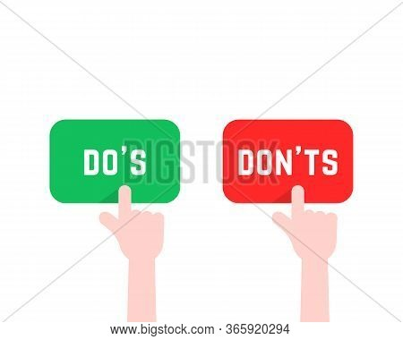 Click Finger Like Do S And Don Ts Button. Concept Of Rule Of Etiquette For People And Correctly Or W