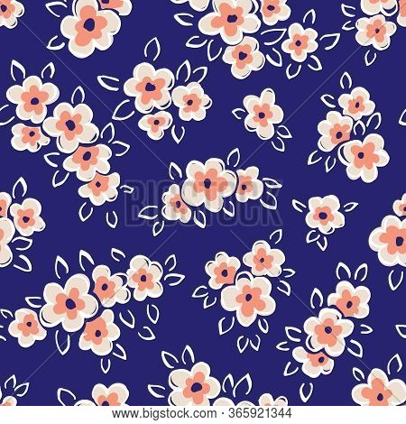 Hand Drawn Artistic Naive Daisy Flowers On Blue Background Vector Seamless Pattern. Blob Coral Bloom