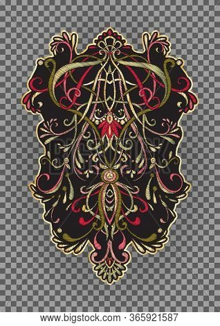 Patch, Embroidery Imitation. Decorative Motif In Retro, Vintage Jacobean Embroidery Style. Vector Il
