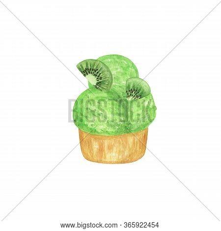 Kiwi Ice Cream Three Scoops Fruity Dessert Watercolor Illustration, Watercolor Isolated Food Illustr