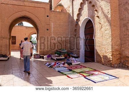 Marrakesh, Morocco - 12 October, 2019: Street Trading At The Walls Of A Kutubiyya Mosque, Marrakesh.