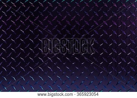 3d Rendered High Resolution Diamond Plate Background In Purple, Black, Blue And Green Shiny Color, G