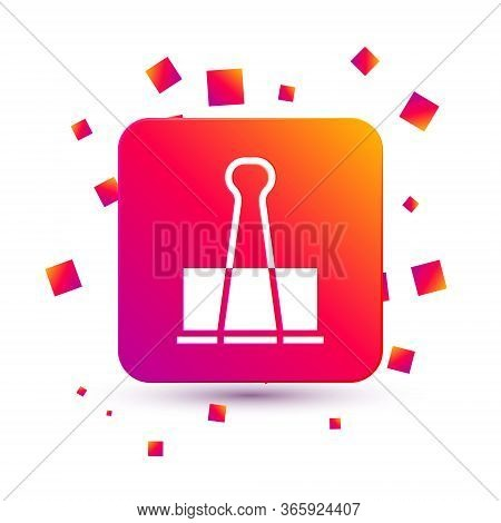 White Binder Clip Icon Isolated On White Background. Paper Clip. Square Color Button. Vector