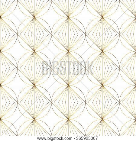 Art Deco Isolated Gold Seamless Pattern. Art Deco Pattern With Gold Rhombuses On A White Background.