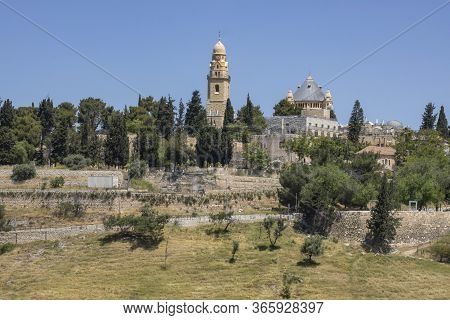 Jerusalem, Israel - May 5th, 2020: The Abbey Of The Dormition, Located On Mount Zion, Jerusalem, Isr