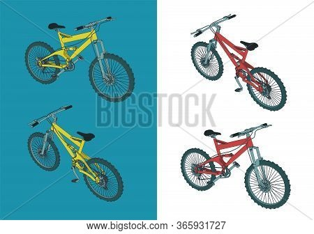 Mountain Bike Color Illustrations
