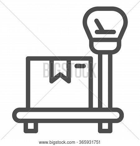 Package On Scales Line Icon, Delivery And Logistic Symbol, Industrial Cargo Weight Scale Vector Sign