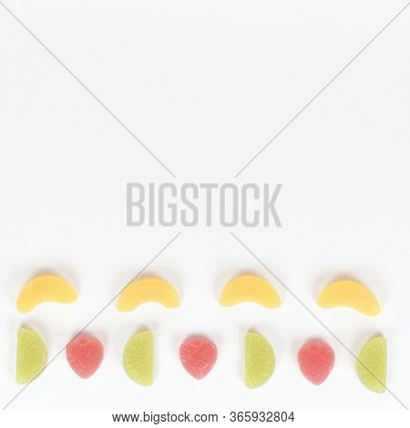Flat Lay Composition With Delicious Jelly Candies, Jelly Candies Pattern Isolated On White Backgroun