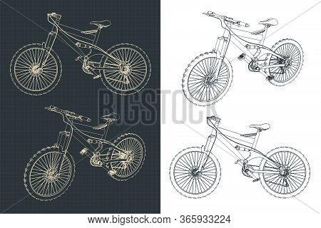 Mountain Bike Drawings Illustration