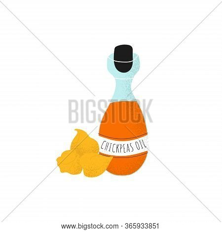 Isolated Glass Bottle With Chickpeas Oil. Gram Or Chickpea Liquid In Modern Flat Vector Style. Healt