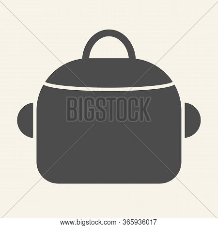 Pan Solid Icon. Steel Saucepan Symbol, Glyph Style Pictogram On Beige Background. Cooking Pot Sign F
