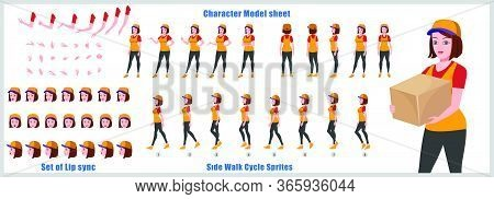 Courier  Woman Character Model Sheet With Walk Cycle And Run Cycle Animation Sequence