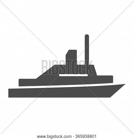 Pleasure Boat Solid Icon, Sea Transport Symbol, Yacht Vector Sign On White Background, Speed Boat Ic