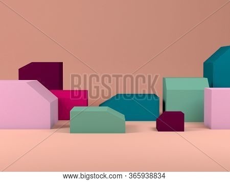 Minimal Still Life Installation, Colorful Boxes With Beveled Edges As Empty Places For A Product Rep