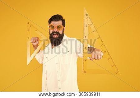 College University Education. Power Knowledge. Bearded Nerd Triangle. Smart Student. Geometry Teache