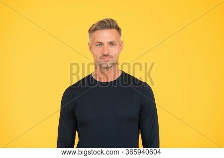 He Knows That Hes Handsome. Handsome Look Of Mature Man. Handsome Man Yellow Background. Casual Styl