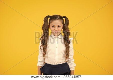 Picky Kid. Adorable Schoolgirl. Schoolgirl Pupil Long Hair Cute Ponytails Hairstyle. Educational Pro
