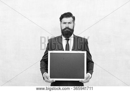 Professional Academy. Businessman Hold School Blackboard. Business Education. Study Business. Educat