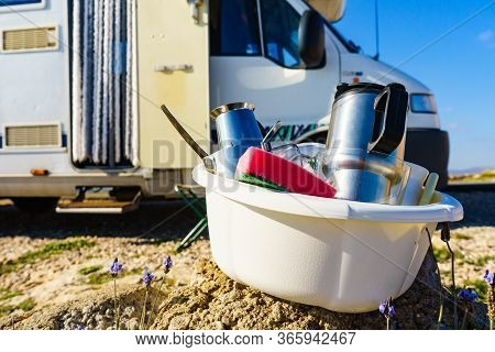 Washing Dishes In Bowl, Capming Outdoor