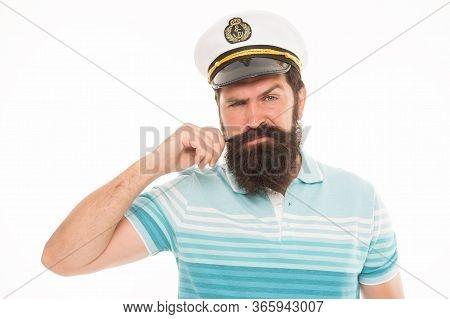 Experienced Sailor Captain. Bearded Sailor Isolated On White. Navy And Marine. Sea Adventures Concep