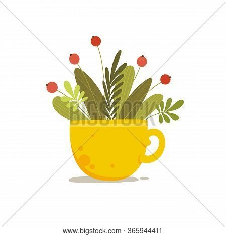 Plant Bouquet With Red Berry In Ceramic Cup Concept Background. Cartoon Illustration Of Plant Bouque