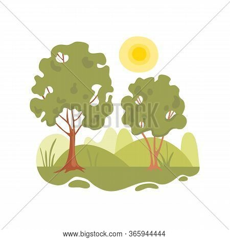 Peaceful Part Of Forest Tree Concept Background. Cartoon Illustration Of Peaceful Part Of Forest Tre