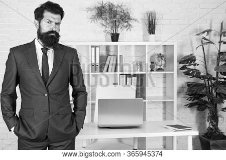 Boss In Office. Man Beaded Hipster Launched Startup Project. Company Owner. Ceo Concept. Office Work