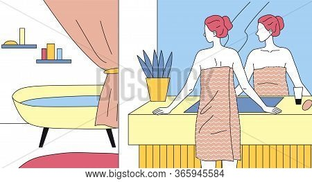 Concept Of Health And Beauty. Beautiful Bathroom Interior. Young Woman Is Standing Wrapped By Towel