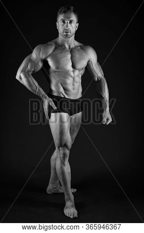Perfect Shape. Bodybuilder Concept. Bodybuilder Man With Strong Body. Bodybuilder With Six Pack And