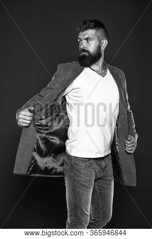 Adding Fashionable Touch. Fashionable Man Grey Background. Fashionable Look Of Vogue Model. Bearded