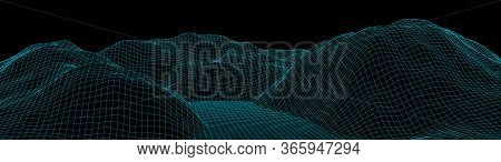 Vector Wireframe 3D Landscape. Technology Grid Illustration. Network Of Connected Dots And Lines. Fu