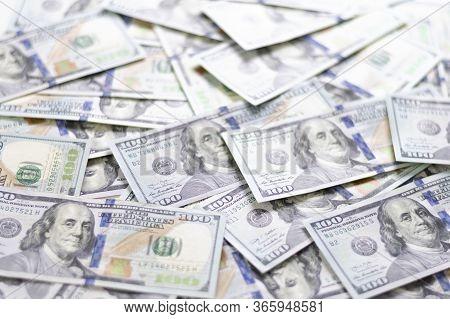 Hundred Dollar Bills. American Dollars In Cash. Cash One Hundred Dollar Bills, High Resolution Dolla